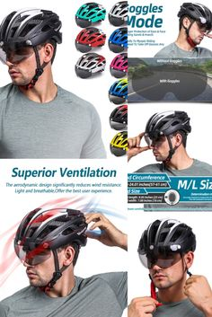 Professional bike helmet with LED & Goggles, The extraordinary high performance and super protection could help our users to enjoy the great fun and sercurity of the cycling Bicycle Helmet, Bike, Air Ventilation, Goggles Glasses, Urban Cycling, Bicycle Lights, Sports Sunglasses, Led, Collection