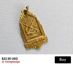 Antique Gold Music Charm #vintage #antique #jewelry #vogueteam #etsy