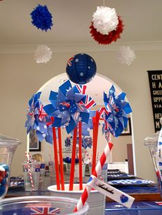 : Happy Australia Day kids party decorations Could switch stuff for the of July Happy Australia Day, Australia Cake, Aussie Bbq, Aussie Food, Survival Day, Australia Day Celebrations, Aus Day, Kids Party Decorations, Party Ideas