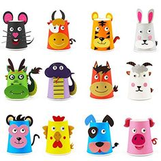 Here Fashion Paper Crafts and Arts Kit 12 Pack Zodiac Preschool Crafts Toys for Toddler Kids Paper Cup Crafts, Cardboard Box Crafts, Diy Crafts For Gifts, Fun Crafts, Arts And Crafts, Paper Plate Art, Animal Crafts For Kids, Toddler Toys, Kids Toys