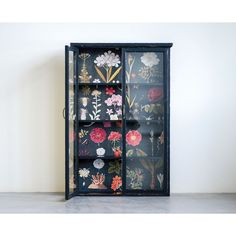 """31-3/4""""L x 8-1/2""""W x 48""""H Wood Cabinet w/ Floral Papered Back, Black Cabinet Molding, Cabinet Shelving, Painted Bookshelves, Bookcases, Painted Fox Home, Seasonal Decor, Holiday Decor, Wholesale Home Decor, Creative Co Op"""