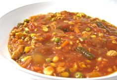 Crock-Pot Brunswick Stew Made Skinny.  This NEW skinny version is fantastic! There is something so comforting about a  bowl of hearty Brunswick stew. Each serving has 323 calories, 2 grams of fat and 8 Weight Watchers POINTS PLUS. Get ready to receive rave reviews…It's that good! http://www.skinnykitchen.com/recipes/crock-pot-brunswick-stew-made-skinny/