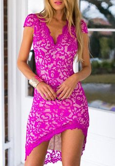 Lace Embroidered Sexy V-Neck Short Sleeve Bodycon Dress For Women #dressesforwomen