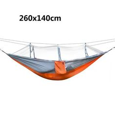 New Outdoor Hanging Hammock Portable High Strength Fabric Hammock Hanging Bed With Mosquito Net Sleeping Bed 260x130cm Factories And Mines Outdoor Furniture Hammocks