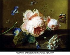 artwork: Jan van Huysum, Dutch, Still Life of Flowers on a Plinth - c. Oil on copper, The Royal Cabinet of Paintings, Mauri. Dutch Still Life, Dutch Golden Age, The Hague, Dutch Artists, Rembrandt, Art Plastique, Beautiful Paintings, Oeuvre D'art, Art Google