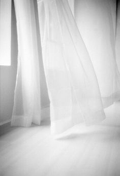 """white curtains, the idea of coolness. From the originators post: """"Sigh. I want my bedroom to feel light and airy like this. Like sleeping in a cloud"""" All White, Pure White, White Light, White Now, Black White, White Curtains, Shades Of White, White Space, White Aesthetic"""
