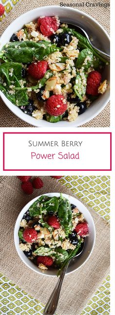 Summer Berry Power Salad - healthy, easy and delicious. Sign up for more easy, healthy recipes at http://eepurl.com/bgGhFT