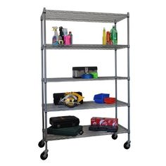 Trinity TBF-PS664 5-Tier Outdoor Storage Rack by Trinity. $124.99. Perfect for gardening supplies. Rugged chrome-plated finish. Heavy-duty metal rack with 4 swivel casters. 5 shelves. Shelf dimensions: 18W x 48D inches. The Trinity TBF-PS664 5-Tier Outdoor Storage Rack was built to handle all your outdoor supply needs. Its frame and 5 adjustable shelves are all made from heavy-duty metal and feature a chrome-plated finish that can more than stand up to the elements. Two lockin...