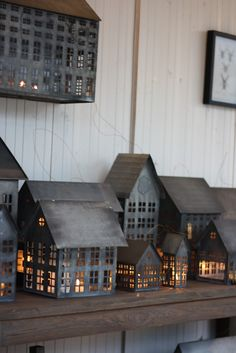 Myhome og Ølen Møbel Tin House Lanterns Shown in the interiors store Ølen Furniture in Rogaland Norway run by Anita and her husband Bjorn Anitas blo. Halloween Village Display, Tin House, Deco Design, Loft Design, House Design, Miniature Houses, Home And Deco, Little Houses, Small Houses