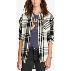 Denim & Supply Ralph Lauren Boyfriend Plaid Shirt ($60) ❤ liked on Polyvore featuring tops, black plaid, tartan plaid shirt, flannel top, plaid top, shirt tops and button-down shirt