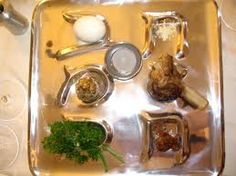 Contemporary Seder Plate...beautiful. Wondering what all these food items symbolize? Click here: http://judaism.about.com/od/holidays/a/sederplatesymbols.htm