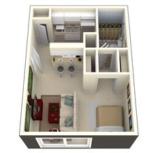 Small studio apartment layout design ideas - home desig Studio Apartment Floor Plans, Studio Apartment Layout, Studio Layout, Studio Apartments, Cool Apartments, Modern Studio Apartment Ideas, Small Apartment Plans, Small Apartment Layout, Studio Floor Plans