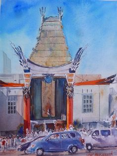 """""""Grauman's Chinese Theartre"""" Watercolor Original Painting 11"""" x 15""""  NOT A PRINT  