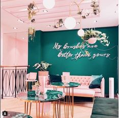 Home Decorating Trends 2018 Shoe Store Design, Home Hair Salons, Pop Up Cafe, Cafe Interior Design, Beauty Salon Interior, Restaurant Design, Pink Restaurant, Girl House, Living Room Remodel