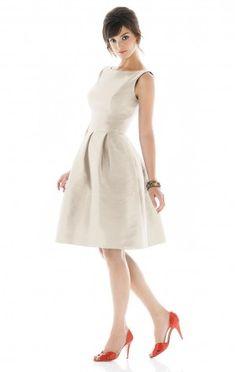 Ivory Jewel A-line Taffeta Tea-length Dress