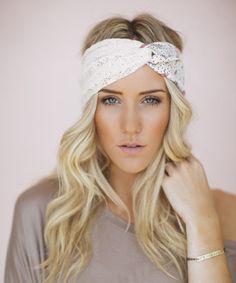 Look at this #zulilyfind! White Floral Lace & Chiffon Headband by Three Bird Nest #zulilyfinds