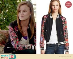 Norrie's floral bomber jacket on Under the Dome.  Outfit Details: http://wornontv.net/35175/ #UndertheDome