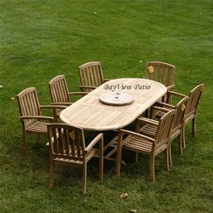 "New 9Pc Grade-A Teak Outdoor Dining Set 83"" X40 oval double extension table & 8 stacking chairs with cushions"