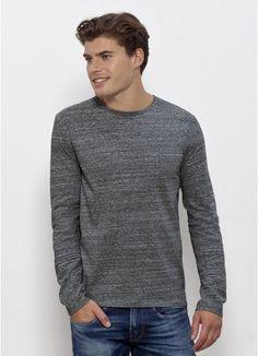 7a81dd73da541f Kesper Men's long sleeve t-shirt in Slub Heather Steel. Fair trade with the
