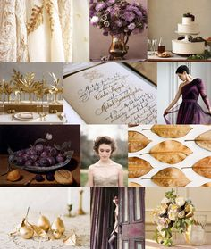 {Plum & Gold}  Mood: luxe autumn harvest  Palette: plum, aubergine, burnished gold, cream
