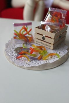 Miniature Gummy Snakes  8pc pack  1/3 scale for BJD SD by snowfern, $16.00