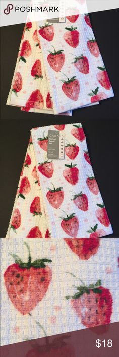 Amazing Casaba Strawberry Kitchen Towels Casaba Kitchen Towels Set Of 2  Strawberries 100% Cotton / Waffle