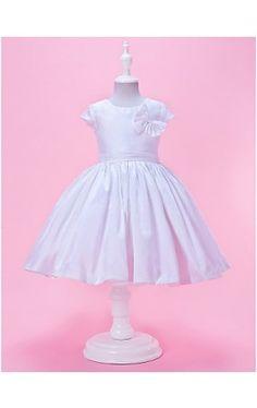 A-line Jewel Neck Knee-Length Taffeta Flower Girl Dress With Short Sleeves