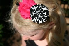 Damask and Chiffon Flower Headband, Damask Headband, Chiffon Flower Headband, Damask Hair Bow, Flower Headbands, Shabby Chic Headband