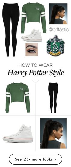 """Modern Slytherin ~ Harry Potter"" by orftastic on Polyvore featuring mode, M&S Collection, Topshop, Converse, modern, women's clothing, women, female, woman et misses"
