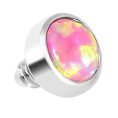 3mm Anodized Titanium Round Pink Faux Opal Dermal Anchor Top #BodyCandy #trending #dermal