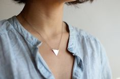 Minimalist Sterling Silver Triangle Necklace - Oxidized Sterling Silver Chain. $34.00, via Etsy.