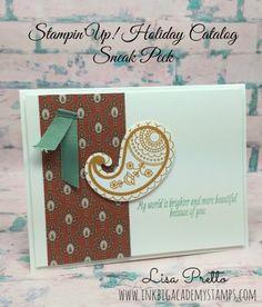 Stampin'Up! Paisleys and Posies Stamp set, Paisleys Framelits Dies, Sneak peek Holiday Catalog, Card, Lisa Pretto, inkbigacademystamps