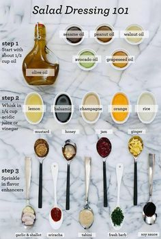 What is better than making your own salad dressing? Refer to this salad dressing guide and enjoy! Make your own salad dressing with healthy ingredients. Make healthy choices with WaterVive, our liquid supplement with over 211 ingredients! Cooking Tips, Cooking Recipes, Healthy Recipes, Healthy Food, Simple Salad Recipes, Healthy Baking Substitutes, Cooking Corn, Thai Cooking, Healthy Oils