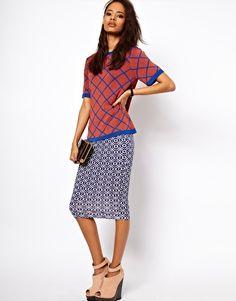 ASOS Pencil Skirt in Geo Print