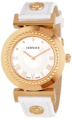 Versace Women's P5Q80D001 S001 Vanity Rose Gold Ion-Plated Stainless Steel Leather Band Watch #Versace