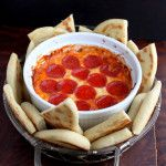 4-Layer Pizza Dip I think I would cut pepperoni up into smaller pieces