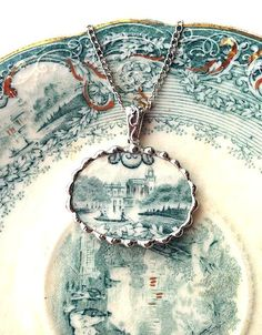 Broken china jewelry oval pendant necklace antique teal green castle English transferware lake scene