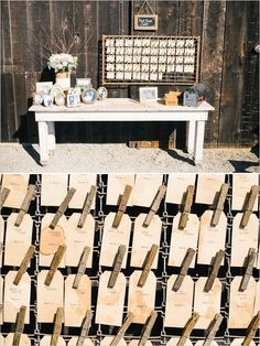 escort card table ideas #rustic #escortcards #weddingchicks http://www.weddingchicks.com/2014/03/26/rustic-romance-wedding/