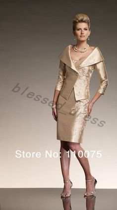 Elegnat Free Long Sleeve Jacket Mother of the Bride Dress Outfit Wedding Gown Ball Prom Knee-Length Short Cocktail Party Dress on AliExpress.com. $132.00