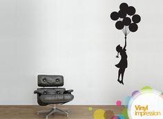 Small Banksy Girl Floating Balloon Wall Stickers via Etsy