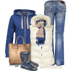What a great look for Fall 2013! Brave Soul Womens Adrian Hoodie @$15.00 in cobalt blue is sold out. Hay market Burberry scarf is $455.00 - ouch! The gorgeous bag is Prada... $1,480.00 ...again - ouch! But the vest is only $20.00.