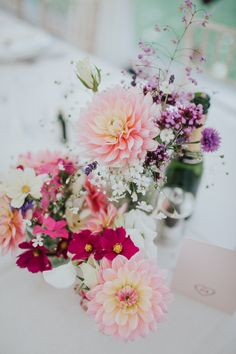 Rustic & Colourful Wedding Flowers - Delicate Flower Crown For A Rustic Church Of England Wedding With Bride in Pronovias and Reception At The Local Pub Images by Kate Gray Photography