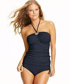 21631fe949 MICHAEL Michael Kors Halter Logo Tankini Top  amp  Ruched Bikini Bottom -  Swimwear - Women