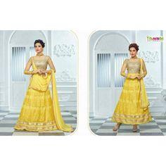 UNSTITCHED LEHENGAS -Yellow With Gold color PRINCESS wonderful designer LEHENGAS ON Thambi shopping