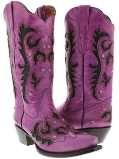 Rhinestone Studded Black Inlay Snip Toe Purple GENUINE LEATHER Cowgirl Boots  Purple cowgirl boots are rare, and cute purple cowgirl boots with rhinestones is super rare find. If you're a purple lovin' cowgirl, these boots are perfect!