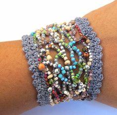 crochet beaded cuffs   Beaded cuff bracelet crochet freeform garden blue by CoffyCrochet, $54 ...