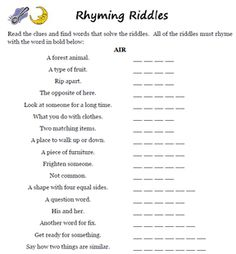 Mind Riddles, Rhyming Riddles, Funny Riddles, Rhyming Activities, Jokes And Riddles, Senior Activities, Rhyming Words, Senior Games, Spanish Activities