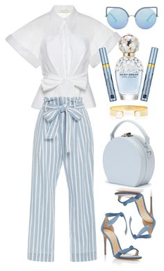"""Frame denim"" by thestyleartisan ❤ liked on Polyvore featuring Delpozo, Frame, Alexandre Birman, Jemma Wynne, Matthew Williamson, Estée Lauder, Marc Jacobs, Handle and stripedpants"