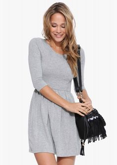 Easy Go-To Dress in Heather grey//