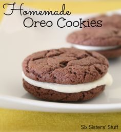 Easy Homemade Oreo Cookies from sixsistersstuff.com.  You'll never want regular Oreos again! #recipes #oreo #cookies #dessert